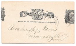 UX7 Postal Stationery Card Liberty Head 1884 Miscut Error Used Posted Philipsburg PA - Errors, Freaks & Oddities (EFOs)