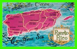 MAP - CARTES GÉOGRAPHIQUES - PUERTO RICO - COLUMBUS LANDED IN 1493 - CARIBE TOURIST PROMOTIONS - - Cartes Géographiques