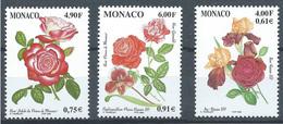 Monaco YT N°2194-2195-2217 Roses Et Orchidées Neuf ** - Neufs