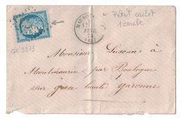 1873 - PETIT CAD TYPE 16 T16 De MAUBOURGUET (PYRENÉES) SUR ENVELOPPE AFFRANCHIE CERES (VARIÉTÉ) OBL. GC 2273 - Postmark Collection (Covers)