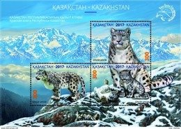 Kazakhstan 2017 Snow Leopard Mountains SS Of 3v MNH - Félins