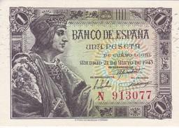 BILLETE DE ESPAÑA DE 1 PTA  DEL AÑO 1943 SERIE N SIN CIRCULAR (UNCIRCULATED) - [ 3] 1936-1975 : Régence De Franco