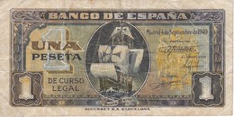 BILLETE DE ESPAÑA DE 1 PTA DEL 4/09/1940 SERIE C CARAVELA  (BANKNOTE) - [ 3] 1936-1975 : Régimen De Franco