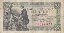 BILLETE DE ESPAÑA DE 5 PTAS DEL 15/06/1945 SERIE H CALIDAD RC  (BANKNOTE) - [ 3] 1936-1975 : Régence De Franco