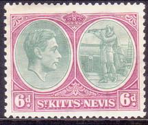 ST KITTS_NEVIS 1938 SG #74 6d MH Perf.13 CV £11 - St.Christopher-Nevis-Anguilla (...-1980)