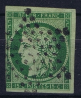 France: Yv Nr 2 B Vert Foncé Obl./Gestempelt/used  Has A Thinspot - 1849-1850 Ceres
