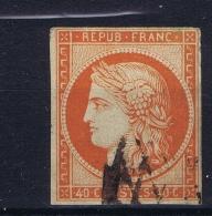 France: Yv Nr 5 B Orange Foncé Obl./Gestempelt/used   Signed/ Signé/signiert Calves + Brun - 1849-1850 Cérès