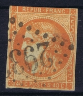 France: Yv Nr 48 C  Rouge Orange  Obl./Gestempelt/used - 1870 Uitgave Van Bordeaux