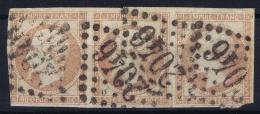 France: Yv Nr 17 Ba Rose Vif Obl./Gestempelt/used  Bande De 3 - 1853-1860 Napoleon III