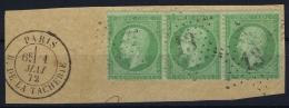 France: Yv Nr 35 Obl./Gestempelt/used  Bande De 3 - 1862 Napoleon III