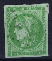 France: Yv Nr 42 B  Obl./Gestempelt/used Cachet ARP Ambulant  Plié - 1870 Bordeaux Printing