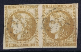 France: Yv Nr 43 A  Obl./Gestempelt/used Cachet Tache Mince/thin Spot - 1870 Emission De Bordeaux