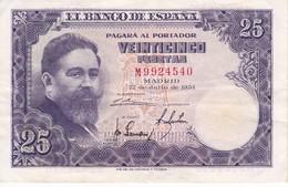 BILLETE DE ESPAÑA DE 25 PTAS DEL AÑO 1954 SERIE M EN CALIDAD EBC (XF)(BANKNOTE) - [ 3] 1936-1975 : Regency Of Franco