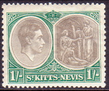 ST KITTS_NEVIS 1938 SG #75 1sh MH Perf.13 CV £12 - St.Christopher-Nevis-Anguilla (...-1980)