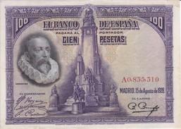 BILLETE DE 100 PTAS DE 1928 DE CERVANTES SERIE A CALIDAD EBC (XF) (BANKNOTE) - [ 1] …-1931 : First Banknotes (Banco De España)