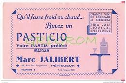 Buvard PASTICIO Pastis Anis JALIBERT Perigueux , Kina Jaly , Grands Vins Bordeaux Et Bergerac , Buvards - Buvards, Protège-cahiers Illustrés