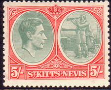 ST KITTS_NEVIS 1938 SG #77 5sh MLH Perf.13 CV £65 Tiny Creases On Back - St.Christopher-Nevis-Anguilla (...-1980)