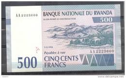 Rwanda 500 Fr 1994 Unc - Rwanda