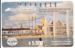 COLOMBIA(Tamura) - Colonial Architecture/Cartagena, First Issue $5000, Used - Colombia