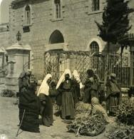 Moyen Orient Palestine Femmes De Bethléem Marché Ancienne Stereo Photo NPG 1900 - Stereoscopic