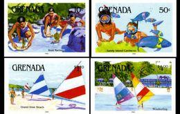 GRENADA 1985 Water Sports Scuba Windsurfing IMPERF.4 Stamps [non Dentelé, Geschnitten,no Dentado] - Grenada (1974-...)