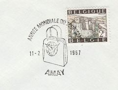 1967 BELGIUM COVER EVENT Pmk INTERNATIONAL TOURISM YEAR AMAY  Un United Nations, Stamps - UNO