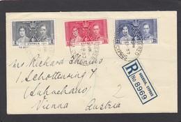 EINGESCHRIEBENER BRIEF VON NOCOSIA MIT SATZ B.MARKEN KRÖNUNG GEORGE VI-1937 UND ZUSATZMARKE  NACH WIEN. - Cyprus (...-1960)