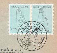 1965 BELGIUM COVER EVENT Pmk Illus HORSE, FLORENNES JOURNEE DU TIMBRE ,  Stamps - Horses