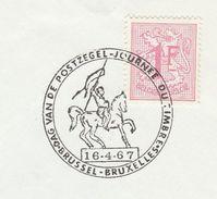 1967 BELGIUM COVER EVENT Pmk Illus HORSE, BRUXELLES JOURNEE DU TIMBRE ,  Stamps - Horses