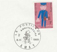 1969 BELGIUM COVER EVENT Pmk Illus HORSE, AMAY POSTILLON  ,  Stamps Post - Horses