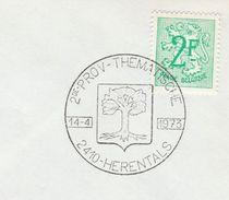1973 BELGIUM COVER EVENT Pmk Illus TREE, 2nd HERENTALS THEMATIC  PHILATELY, Stamps Philatelic Exhibition Trees - Trees