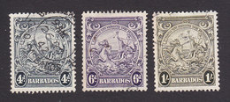 Barbados, Scott #198-199, 200, Used, Badge Of The Colony, Issued 1938 - Barbados (...-1966)