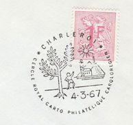 1967 BELGIUM COVER EVENT Pmk Illus TREE, SUN, Cercle Royal Carto Philatelique Caroloregien , Stamps Trees Philatelic - Trees