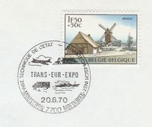 1970 BELGIUM COVER EVENT Pmk TRANS EURO EXPO Illus SHIP LORRY AIRCRAFT , Stamps Windmill Aviation Truck - Trucks