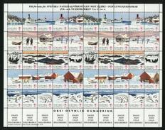 Sweden. Christmas Seal 1976/77 Mnh Full Sheet Unfolded. Lighthouse,Ferry,Horse. - Full Sheets & Multiples