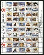 Sweden. Christmas Seal 1992/93 MNH. Full Sheet Unfolded. Moose,Elk,Wolf,Owl,Fox - Full Sheets & Multiples