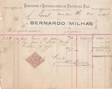ARGENTINE BUENOS AIRES 1887 BERNARDO MILHAS FRUTOS DEL PAIS -                                     TDA224 - Factures & Documents Commerciaux