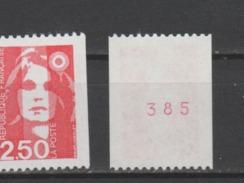 FRANCE / 1991 / Y&T N° 2719a ** : Briat Roulette 2,50F N° Rouge - Gomme D'origine Intacte - France