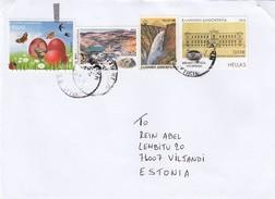 GOOD GREECE Postal Cover To ESTONIA 2016 - Good Stamped: Views ; Birds / Butterflies - Greece
