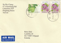 GOOD TAIWAN Postal Cover To ESTONIA 2017 - Good Stamped: Flowers - 1945-... Republic Of China