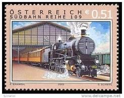 (12920).Autriche 2002 Y&t N°2225**.  Locomotive à Vapeur, Gare Vienne Sud. - Trains