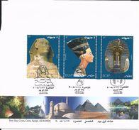 First Day Cover 22 Janvier 2004 -bloc Des Trois Timbres Se Tenant Queen Nefertiti-The Sphinx-Toutankhamun's Golden Mask) - Egypt