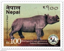 PREHISTORIC RHINOCEROS Rs.100 ADHESIVE POSTAGE STAMP NEPAL 2017 MINT/MNH - Rhinozerosse