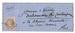1859 - CACHET De DISTRIBUTION De PARIS (BUREAU C) Sur LETTRE LSC Pour PARIS AFFRANCHIE NAPOLEON N°13 LOSANGE LETTRE C - Marcophilie (Lettres)