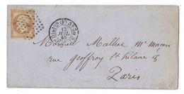 1860 - CACHET De DISTRIBUTION De PARIS (BUREAU F) Sur LETTRE LAC Pour PARIS AFFRANCHIE NAPOLEON N°13 LOSANGE LETTRE F - Marcofilie (Brieven)