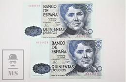 Spain/ España 500 Pesetas/ Ptas Spanish Banknote - Issued 1979, No Series, Correlative Pair - UNC Quality - [ 4] 1975-… : Juan Carlos I