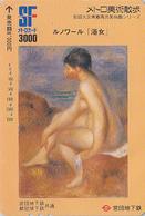 Carte Japon Peinture Erotique France - NU De RENOIR / Baigneuse - Erotic Japan Painting Card Nude Girl  Kunst Karte - 51 - Schilderijen