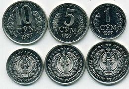 Uzbekistan Set 1  5 10 Som 1997 Unc - Uzbenisktán