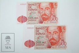 Spain/ España 2000 Pesetas/ Ptas Spanish Banknote - Issued 1980, Correlative Pair, No Series Letter - UNC Quality - [ 4] 1975-… : Juan Carlos I