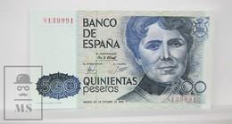 Spain/ España 500 Pesetas/ Ptas Spanish Banknote - Issued 1979, No Series Letter - UNC Quality - [ 4] 1975-… : Juan Carlos I